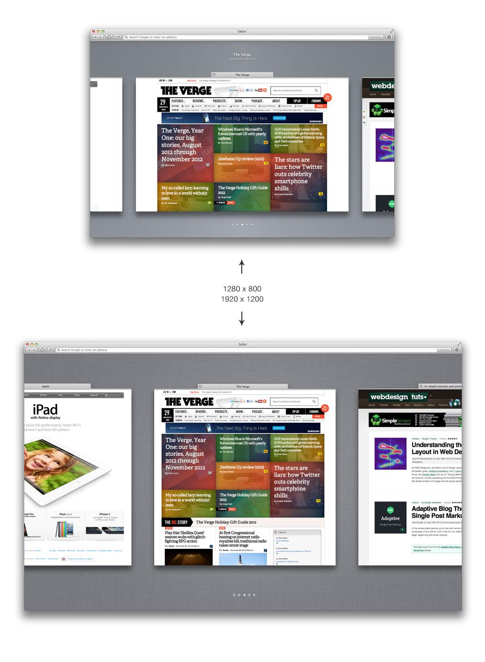 New design of Safari 6 tab preview