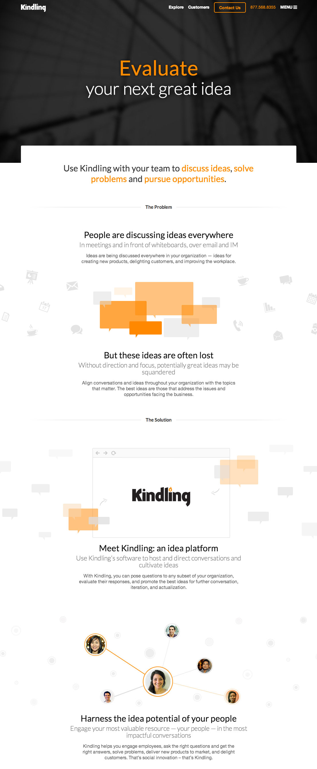 Kindling home page screenshot
