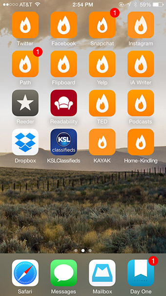 iPhone springboard with variations of icon artwork
