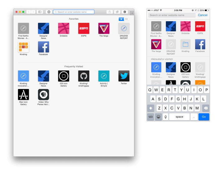 Screenshot of bookmarklet icons in Safari on iOS and Mac