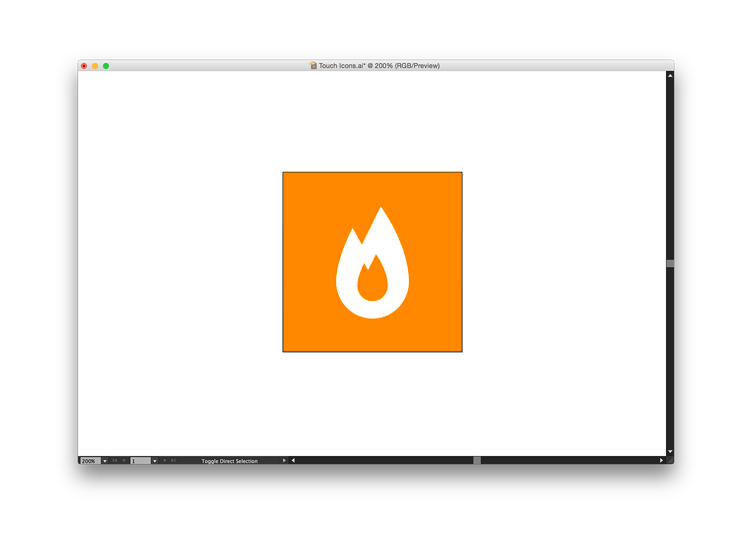 Screenshot of touch icon graphic in Illustrator