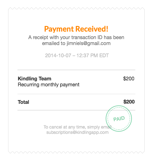 Screenshot of receipt design draft