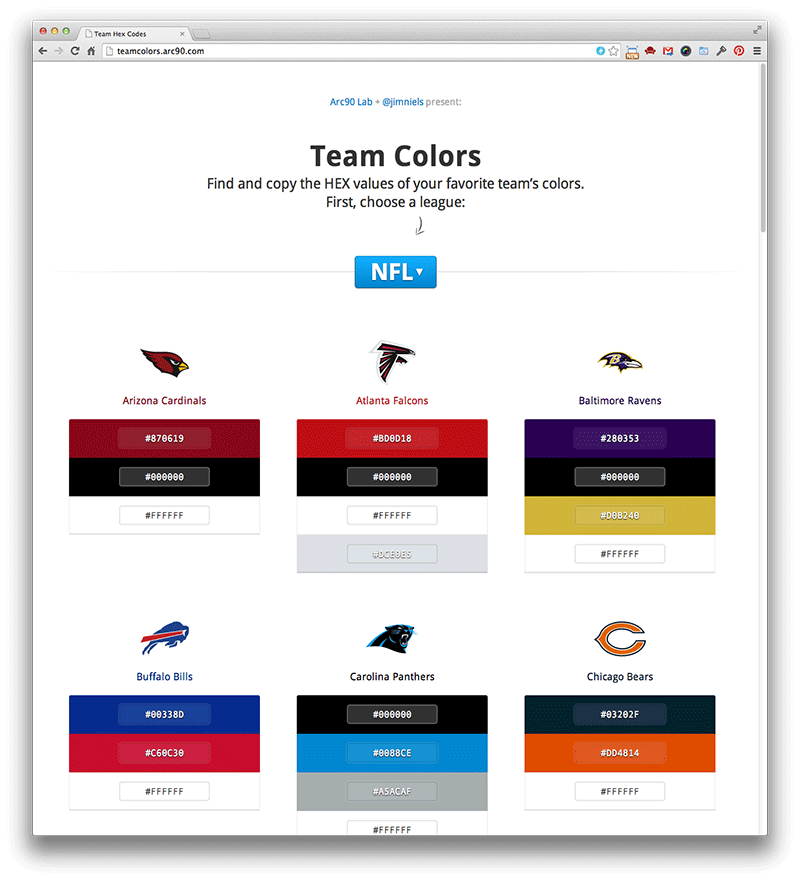 Screenshot of teamcolors.arc90.com