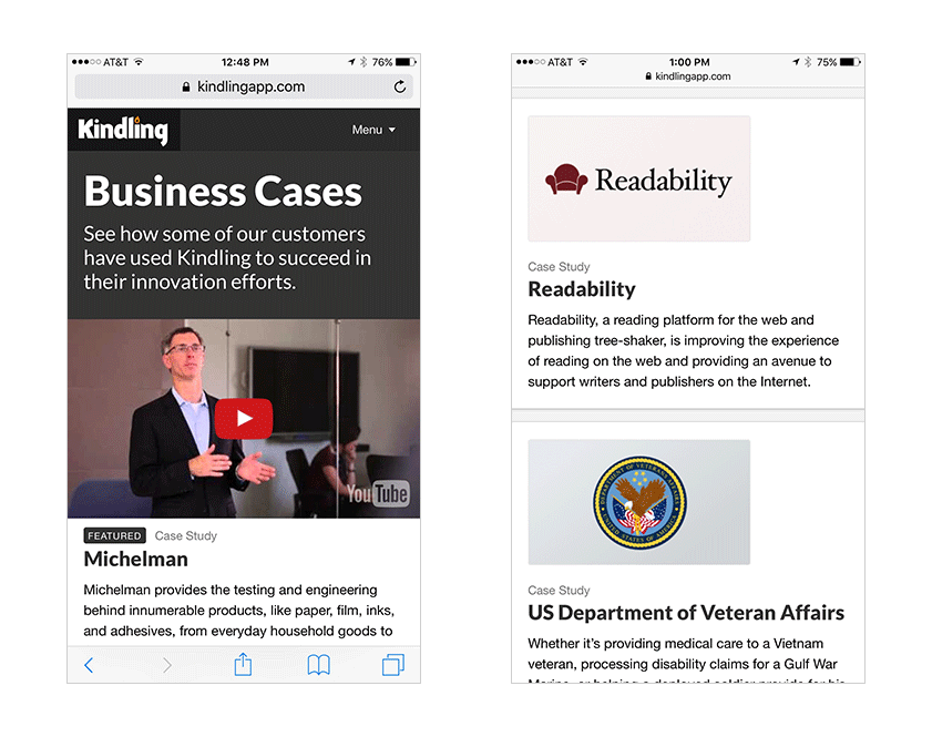M2 mobile browser screenshot: business cases