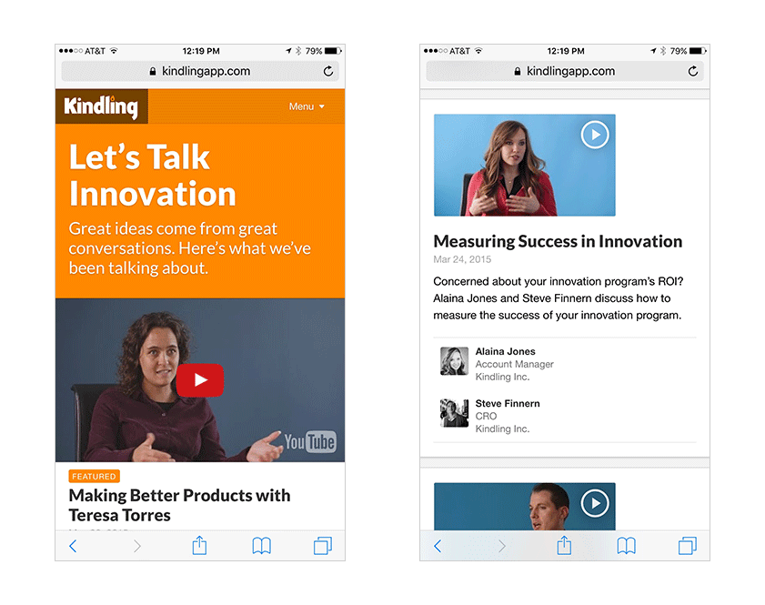 M2 mobile browser screenshot: let's talk innovation