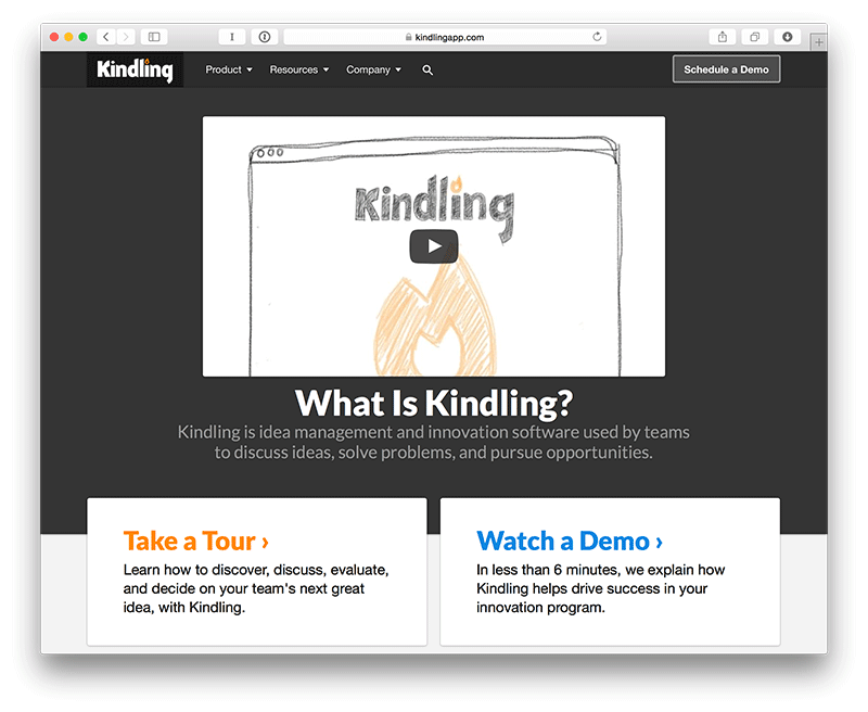 Screenshot of kindlingapp.com