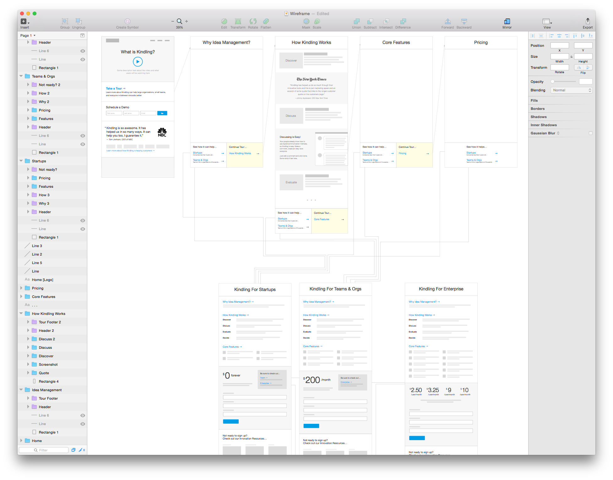 Screenshot of mock in Sketch