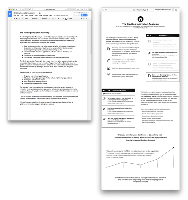 Side by side screenshot of the initial text and the wireframe
