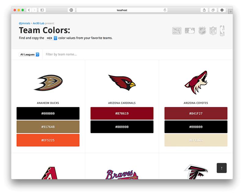 Screenshot of Team Colors 2.0