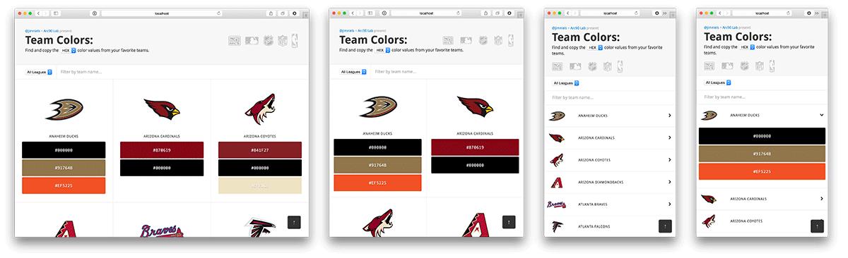 Responsive screenshots of Team Colors
