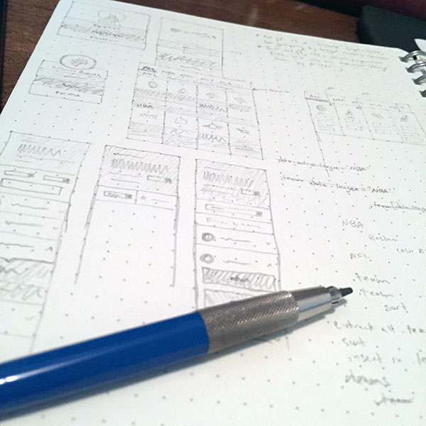 Photo of design sketches for Team Colors 2.0
