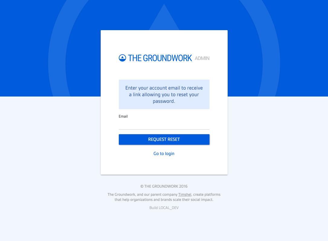 Screenshot of new forgot password page