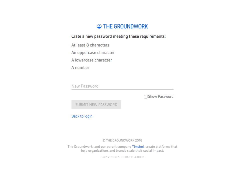 Screenshot of old tokenized forgot password page