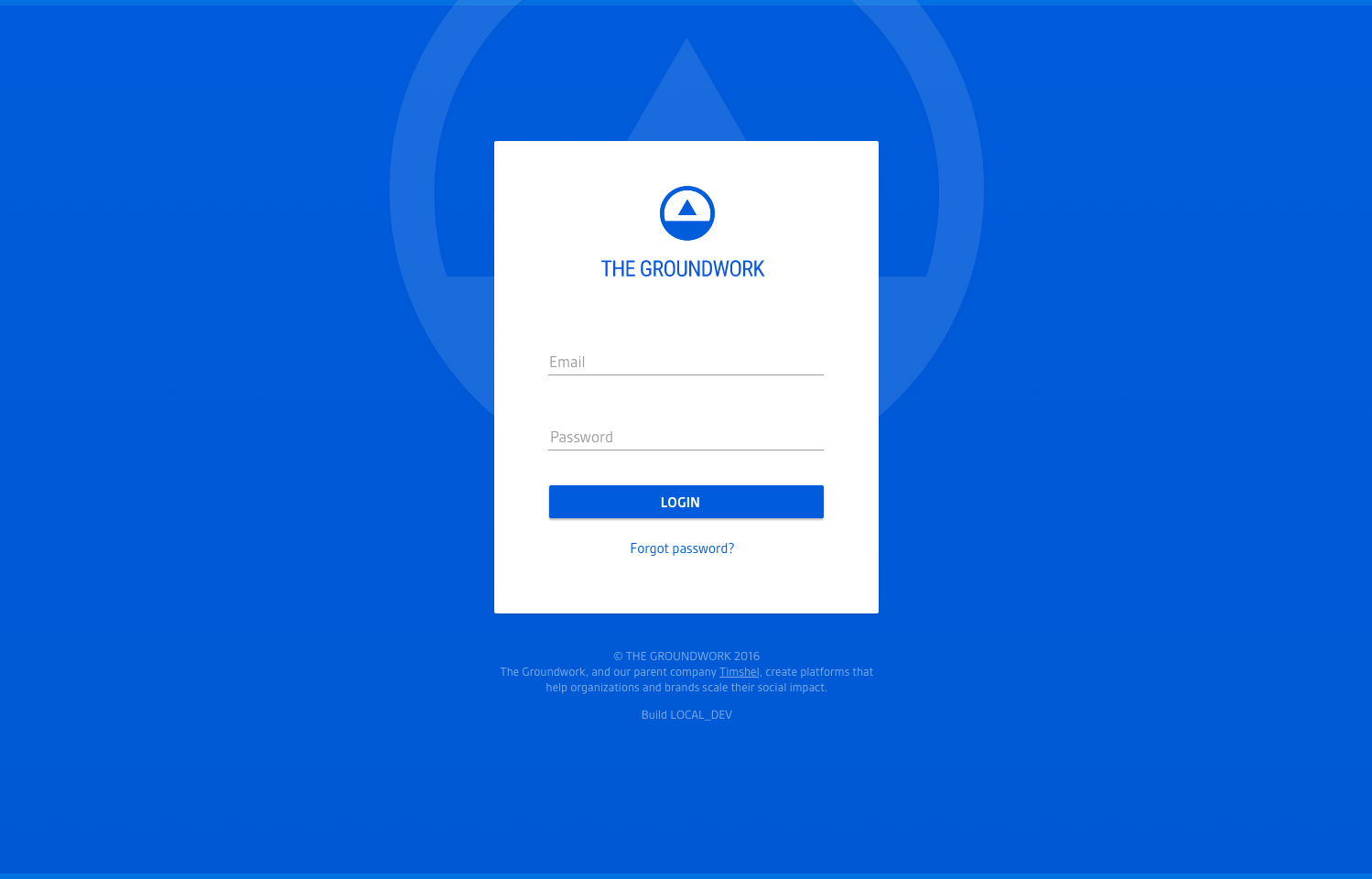 Screenshot of new login page mock for Admin with heavy color