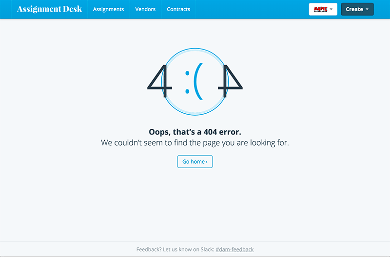 Screenshot of 404 page