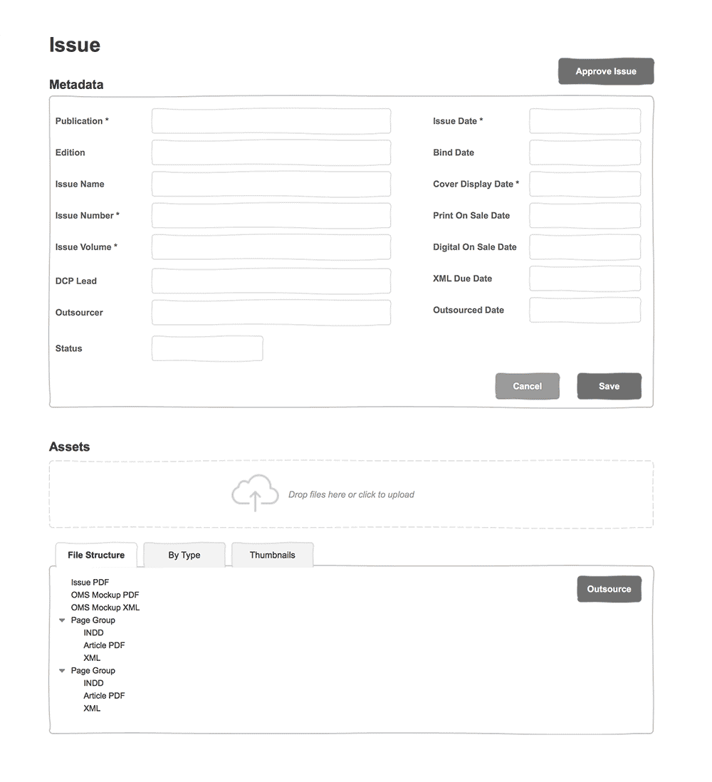 Axure wireframe: Issue view