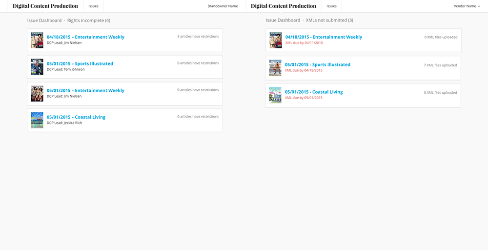 Screenshot of Brand Owner and Outsourcer dashboards.