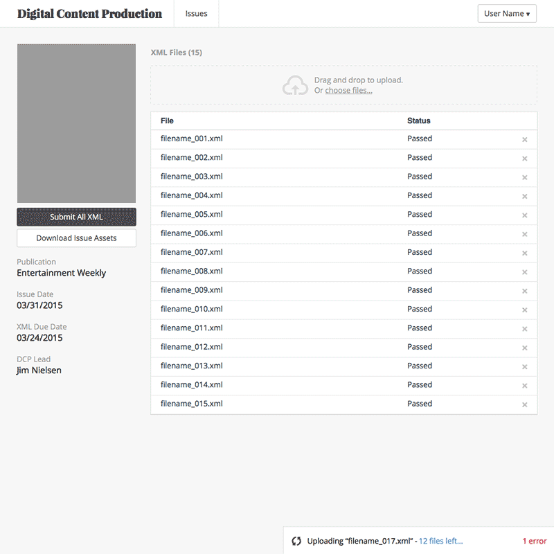 Screenshot of outsourcer issue view wireframe.