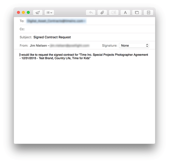 Screenshot of enhanced email