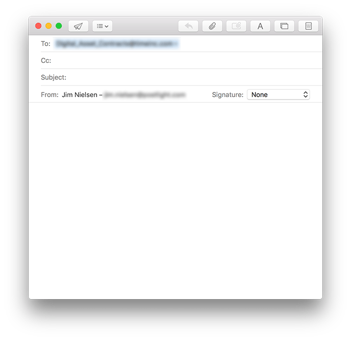 Screenshot of basic email