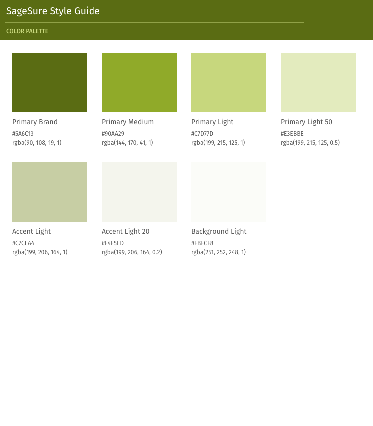 Screen shot of a particular theme's color guide