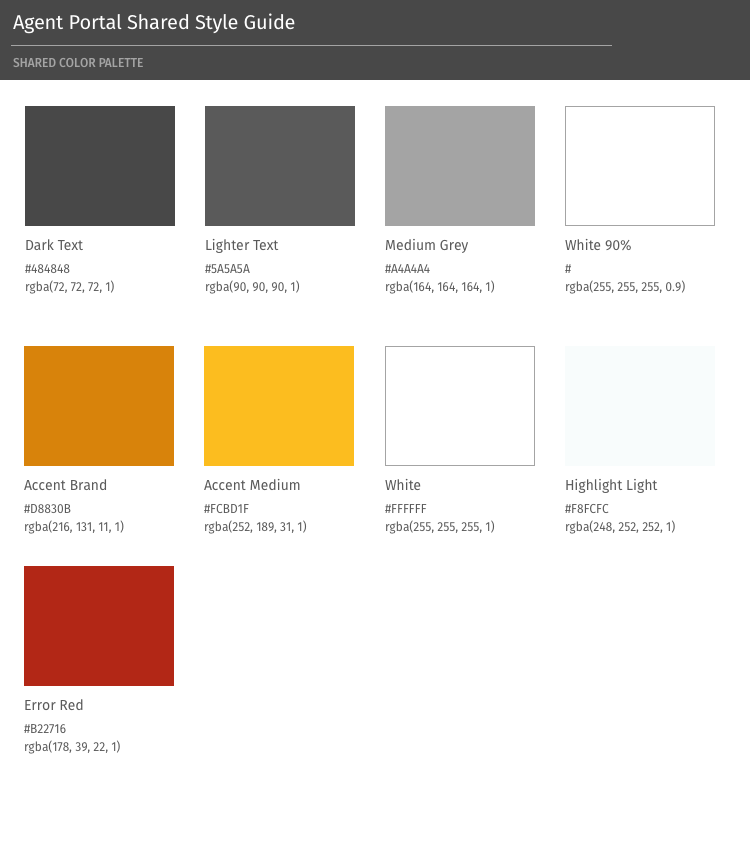 Screen shot of shared colors guide