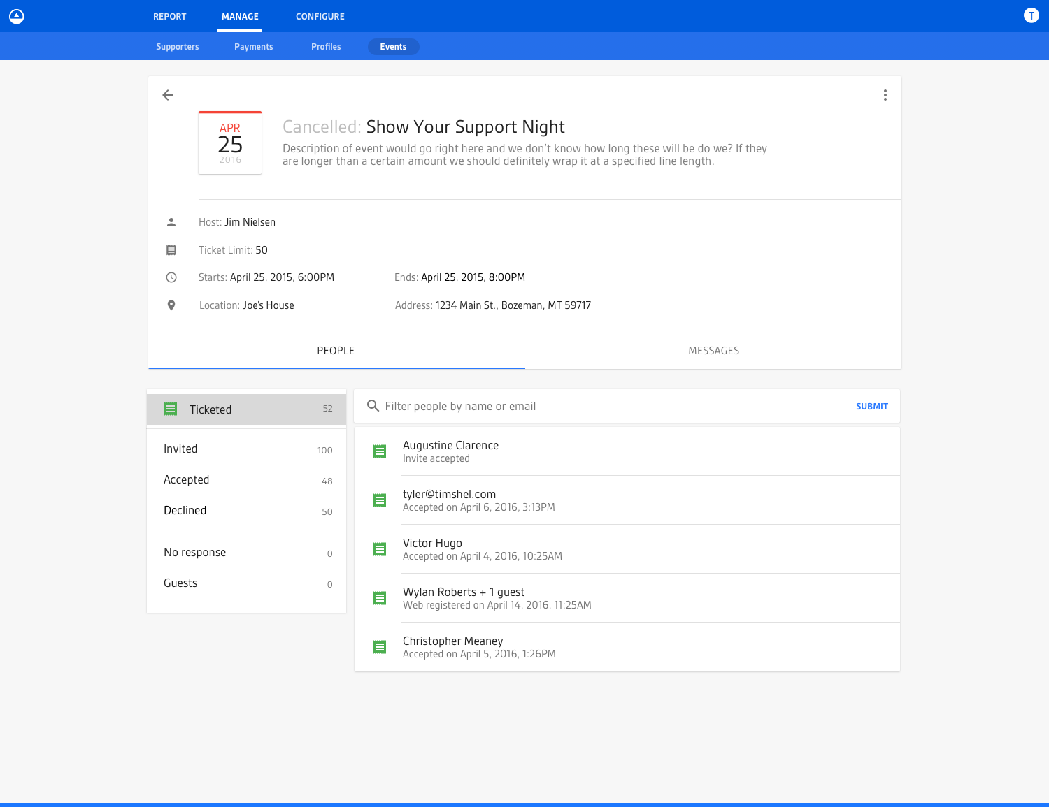Screenshot of the fourth iteration of the individual event view for a cancelled event