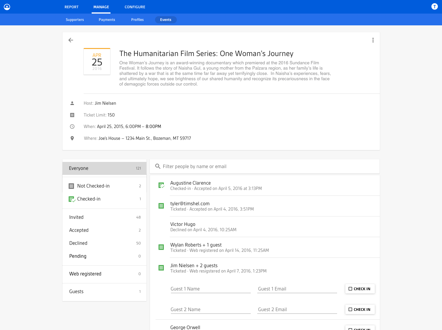 Screenshot of the fourth iteration of the individual event view for an event occurring today