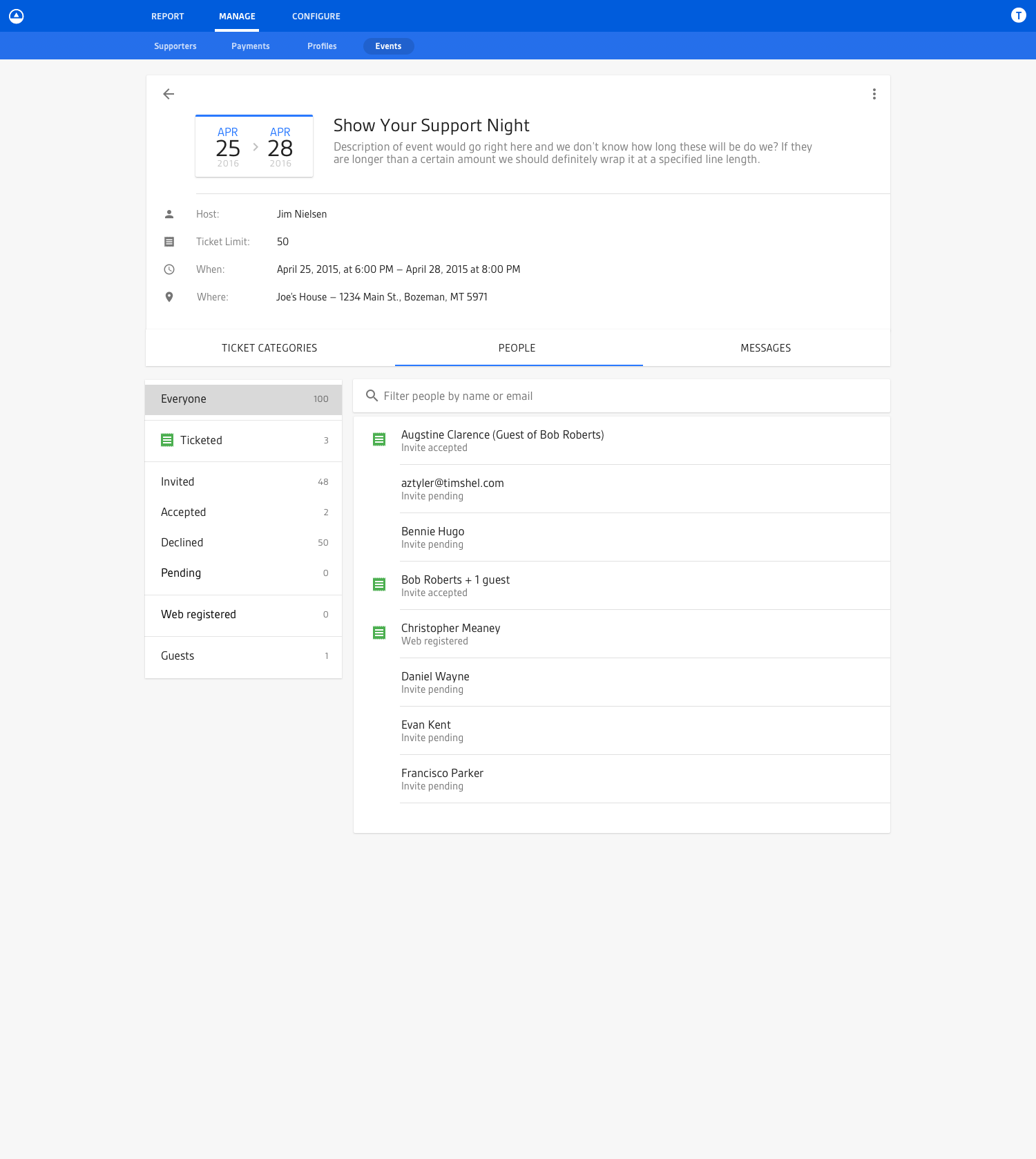 Screenshot of the fourth iteration of the individual event view for an upcoming event