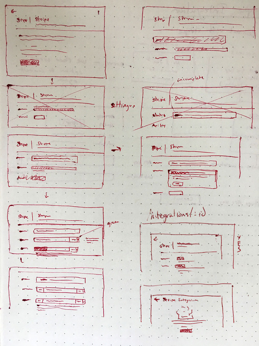 Photo of individual integration UI sketch