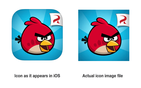 iOS icon with and without mask
