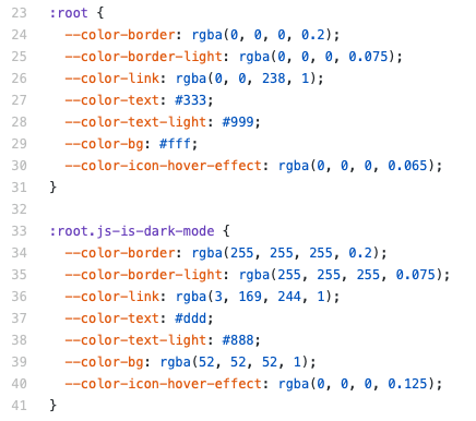 Screenshot of the :root selector CSS colors
