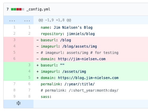 Screenshot of git diff for changed config values