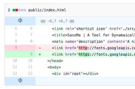 Screenshot of git diff for changing http link to https