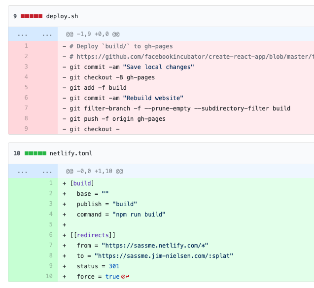 Screenshot of git diff removing build scripts