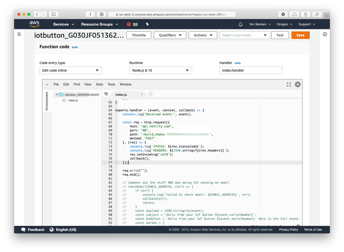AWS lambda screenshot