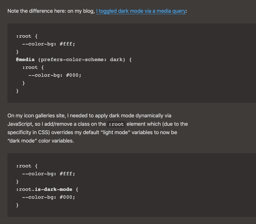 Screenshot of code from my blog showing how it's all the same color