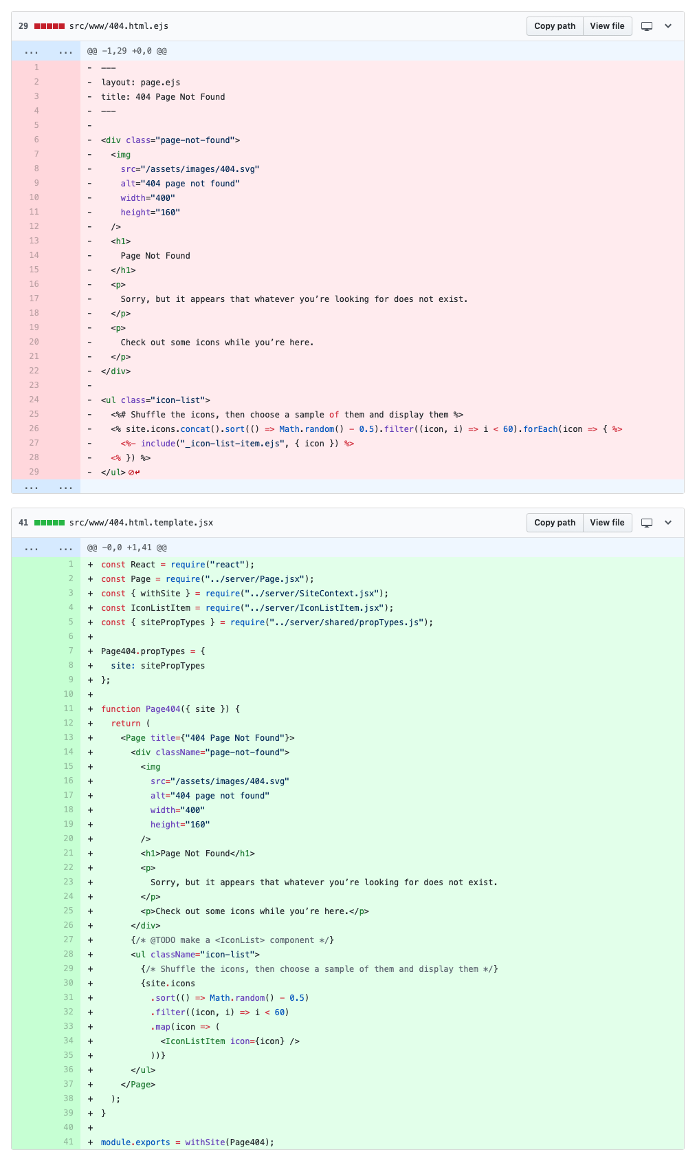 Screenshot of final diff on Github between EJS and JSX 404 pages