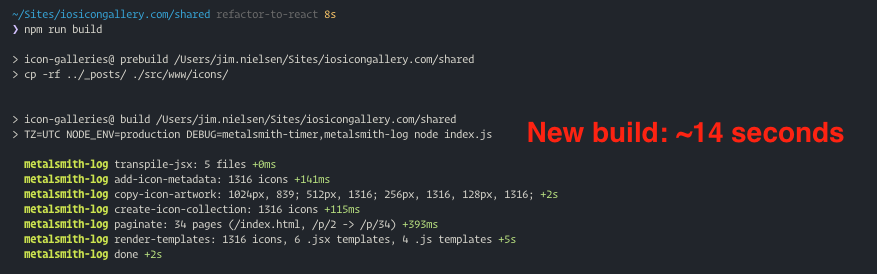 Screenshot of CLI depicting time duration of the new build with JSX
