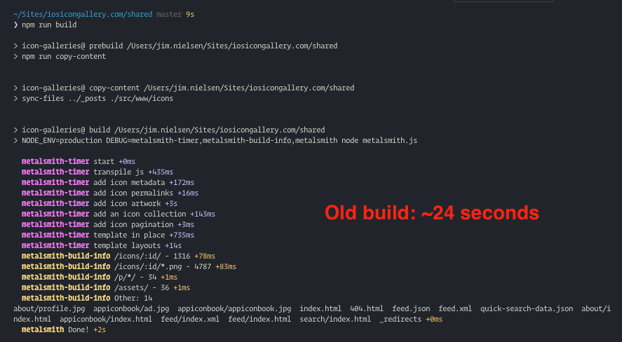 Screenshot of CLI depicting time duration of the old build with EJS