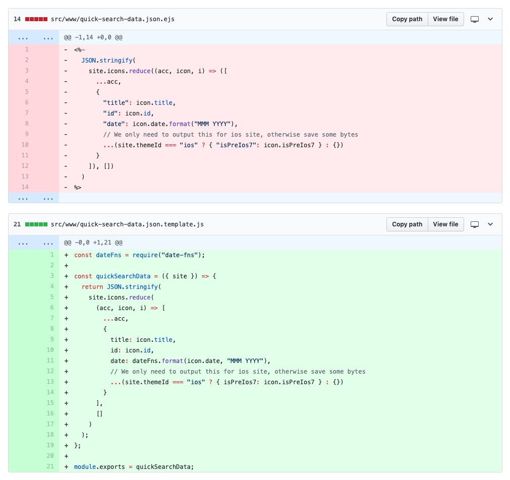 Screenshot of code diff on Github between EJS and JSON template file
