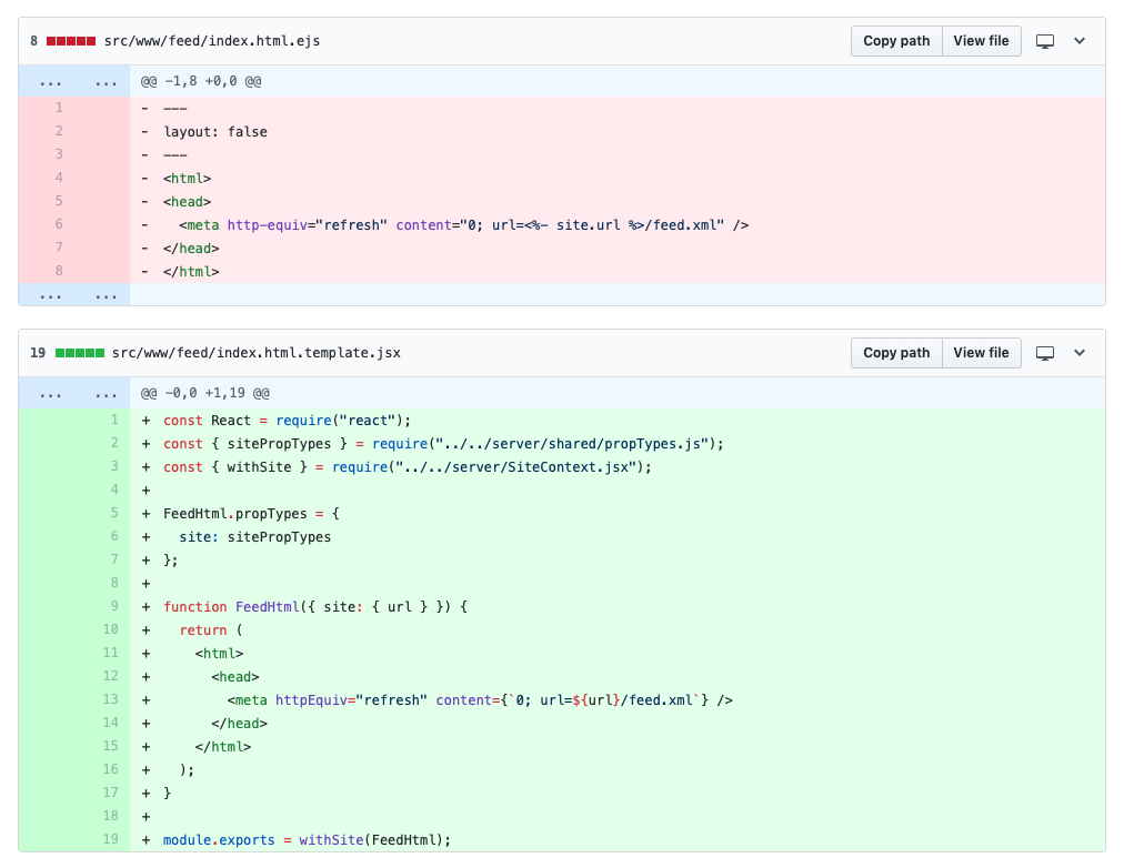 Screenshot from Github of file diff in for an HTML redirect file