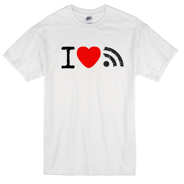 "A t-shirt with a graphic design saying ""I <3 RSS"""