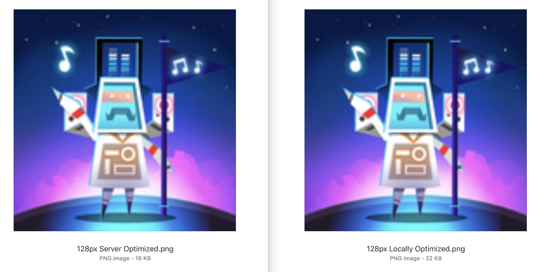 Image depicting visual comparison of optimized image from imageoptim API and from imageoptim Mac app