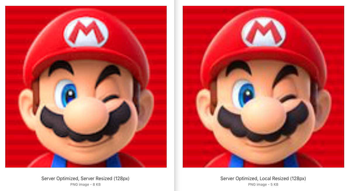 Comparison of local vs server optimization and resizing for Mario icon