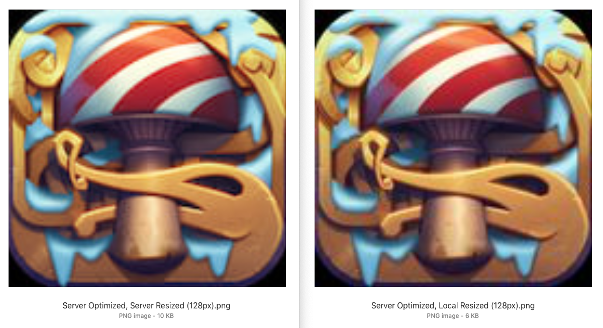 Comparison of local vs server optimization and resizing for Oddmar icon