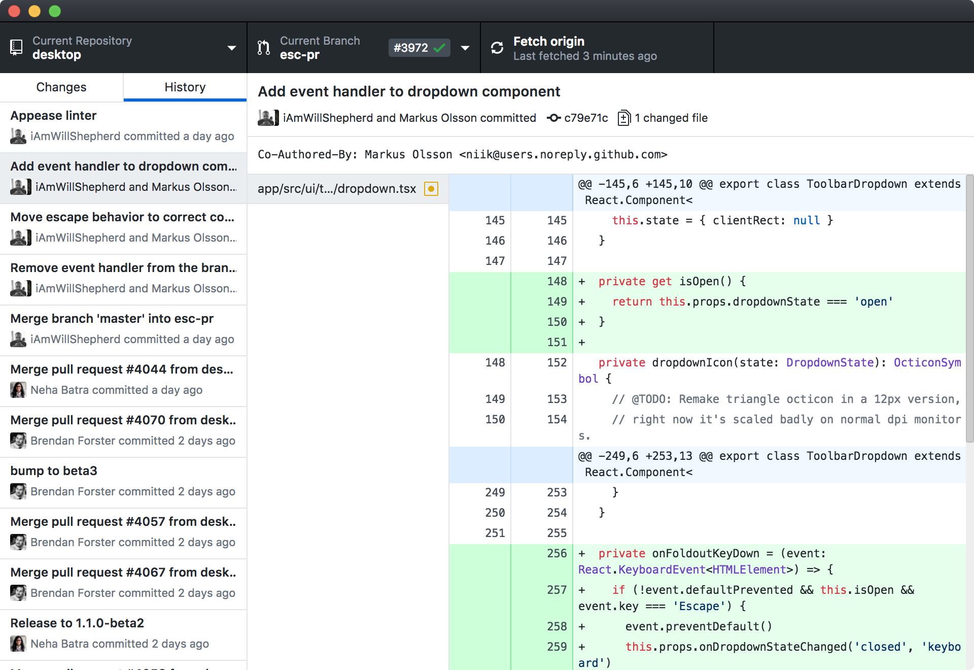 "Screenshot of ""new"" GitHub for Mac and Windows"