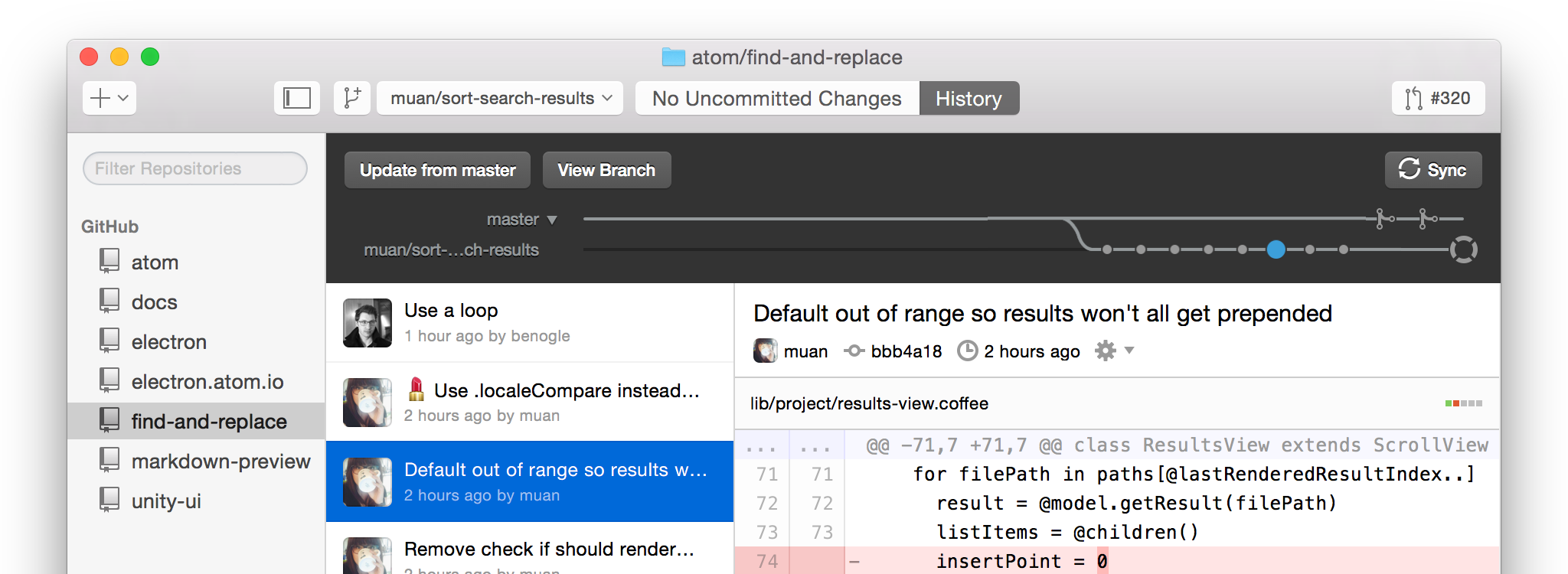 "Screenshot of ""old"" GitHub for Mac"