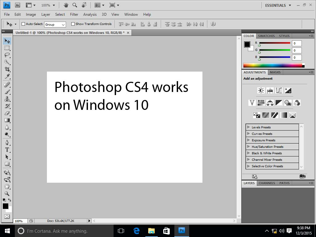 Screenshot of Photoshop CS4 for Windows