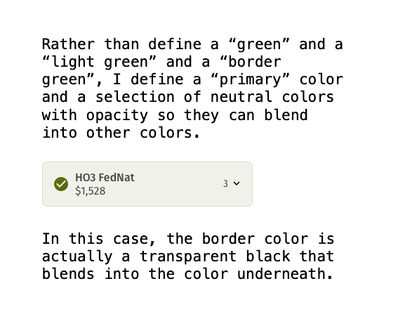 Graphic showing and explaining a UI element with rgba colors